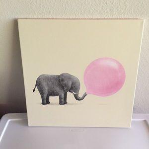 Other - Jumbo Elephant Bubble Gum Canvas Print 18x18x.75